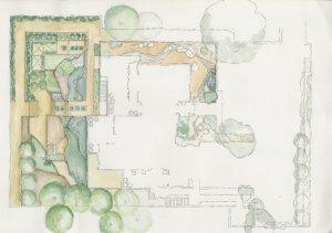 """Isabelle Greene, Valentine Garden Plan (detail), graphite on vellum, 12 1/4 x 18 1/8."""" Unknown artist, rendering. Isabelle Greene Landscape Architecture Records, AD&A Museum."""