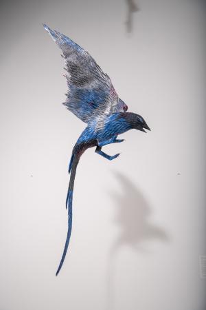 Roberto Benavidez, Blue Bird with Silver Wings (Bosch Bird No. 6), 2017. Mixed media.