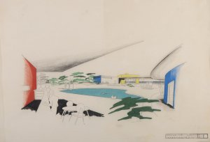 Lutah Maria Riggs (American, 1896-1984) & Arvin B. Shaw, III (American, 1916-1973). Beach club (not realized), Serena Beach, near Montecito, California. Perspectival view of swimming pool, 1947. Lutah Maria Riggs papers, Architecture and Design Collection. Art, Design & Architecture Museum; University of California, Santa Barbara.
