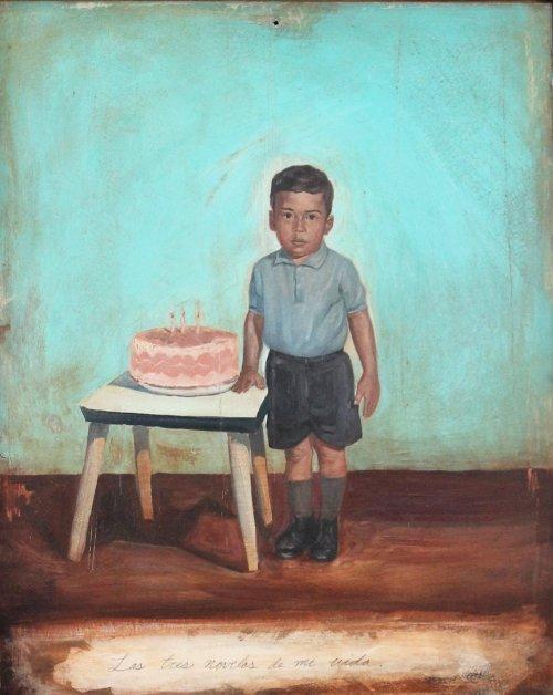 Salomón Huerta, Las Tres Novelas de mi Vida, 1994, Oil on tin
