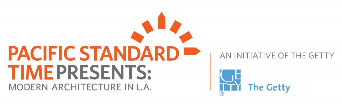 "logo of the Pacific Standard Time presents Modern Architecture in L.A. with sundial and the words, ""An Initiative of the Getty"" with the Getty Foundation logo"
