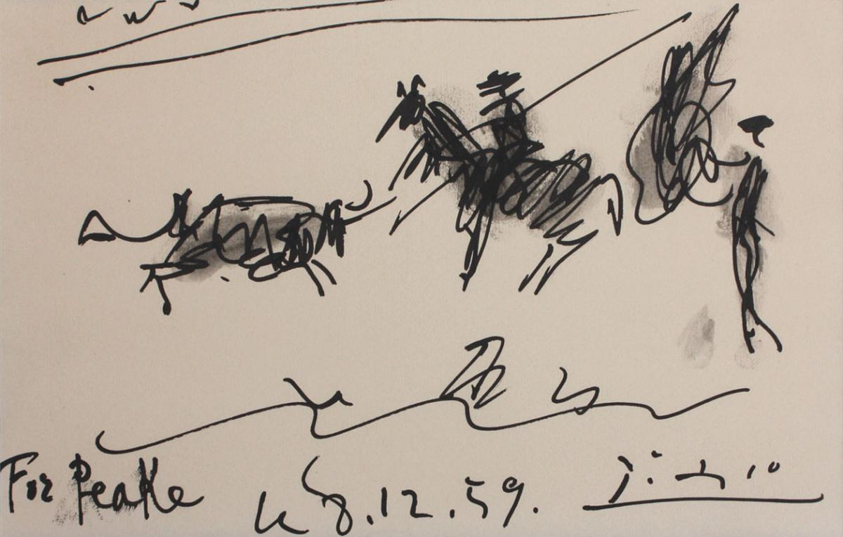 "sketch of bull and matador by Picasso with annotation ""For Peake, 8.12.59"""