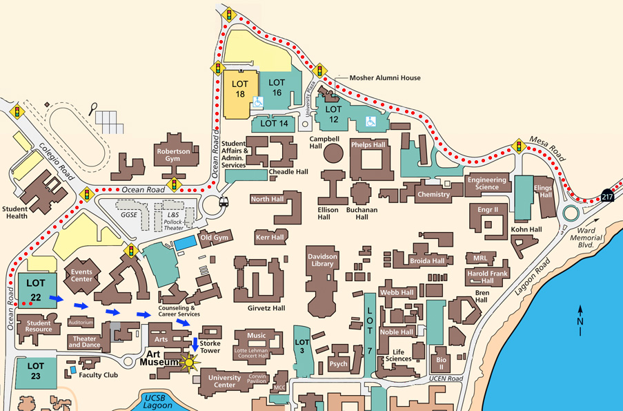 Ucsb Parking Map Directions to the Museum | Art Museum   UC Santa Barbara Ucsb Parking Map