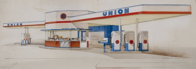 drawing by Kem Weber of a Union Minute Man Station with two canopy wings & Gas Station DeSign: A Tour Through the Collection | Art Museum ...