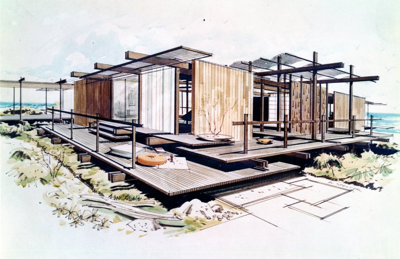 drawing of the Orange County Home Show house with screens, opening between panels, and extended beams connecting indoor and outdoor spaces