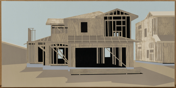 depiction of house under construction with wood structure