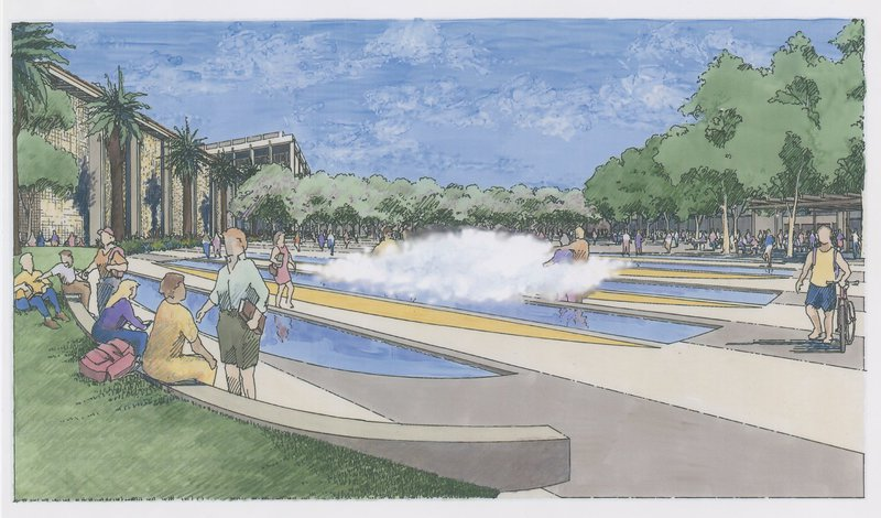 drawing of a fountain in front of the Main Library.  The fountain consists of strips of water with fog above the water.
